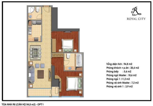 Floor layout of 94.8m2 Apartments
