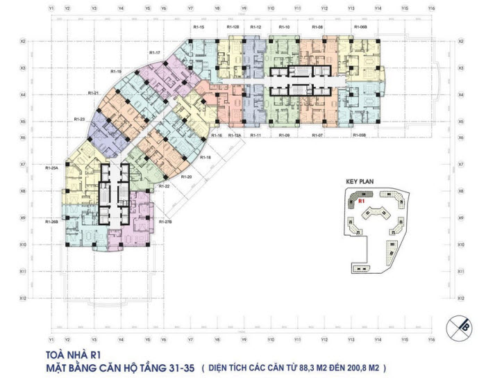 Floor layout of Apartments from 31-35 floor