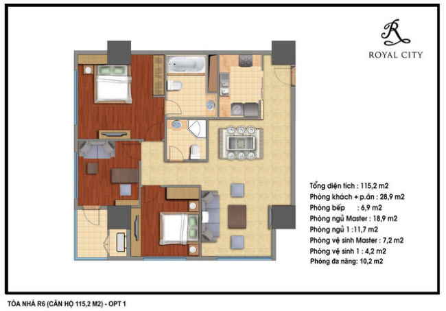 Floor layout of 115.2m2 Apartments