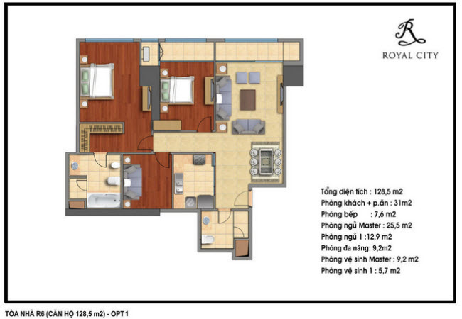 Floor layout of 128.5m2 Apartments