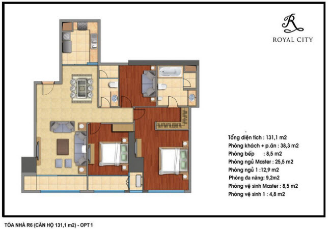 Floor layout of 131.1m2 Apartments
