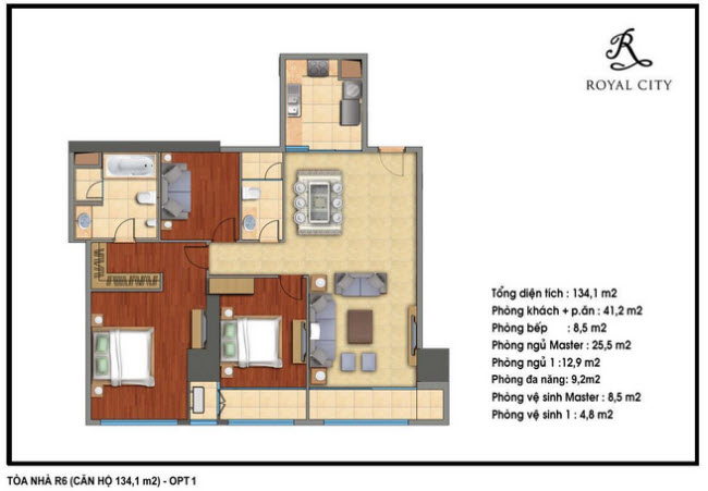 Floor layout of 134.1m2 Apartments